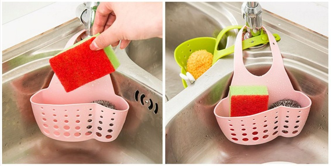 Sponge Holder, Hanging Silicone Kitchen Gadget Sink Organizer By Grocery House (Green) COMIN18JU078537