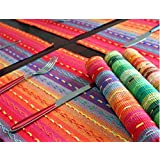 """Ivenf Set of 4 100% Handmade Woven Braided Ribbed Cotton Table Placemats Rainbow Red 12"""" x 18"""""""