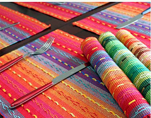 Ivenf Set of 6 100% Handmade Woven Braided Ribbed Cotton Table Placemats Rainbow Red 12 x 18