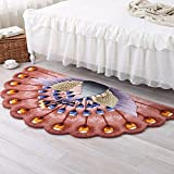Peacock pattern semicircle mat The villa Handmade carpet Rectangle Living room Sofa Tea table Bedroom [bedside] The room is covered with windows-C 80x150cm(31x59inch)