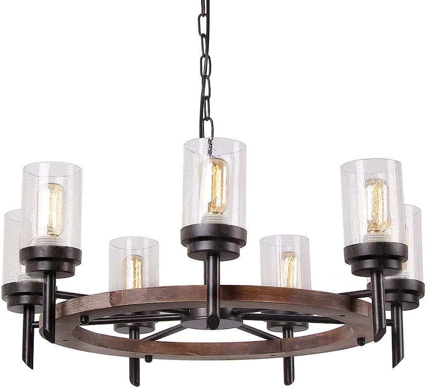 Eumyviv 17807 7-Lights Metal Wood Pendant Lamp with Glass Shade Retro Rustic Antique Chandelier Edison Vintage Decorative Ceiling Light Fixtures Hanging Light Luminaire