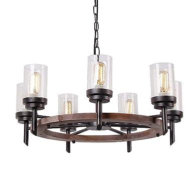 Eumyviv 17807 7-Lights Metal Wood Pendant Lamp with Glass Shade Retro Rustic Antique Chandelier Edison Vintage Decorative Ceiling Light Fixtures Hanging Light Luminaire