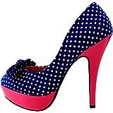 Show Story Gaga Black White Polka Dots Bow Green High Heel Platform Stiletto Club Pumps,LF30426BK38,7US,Black