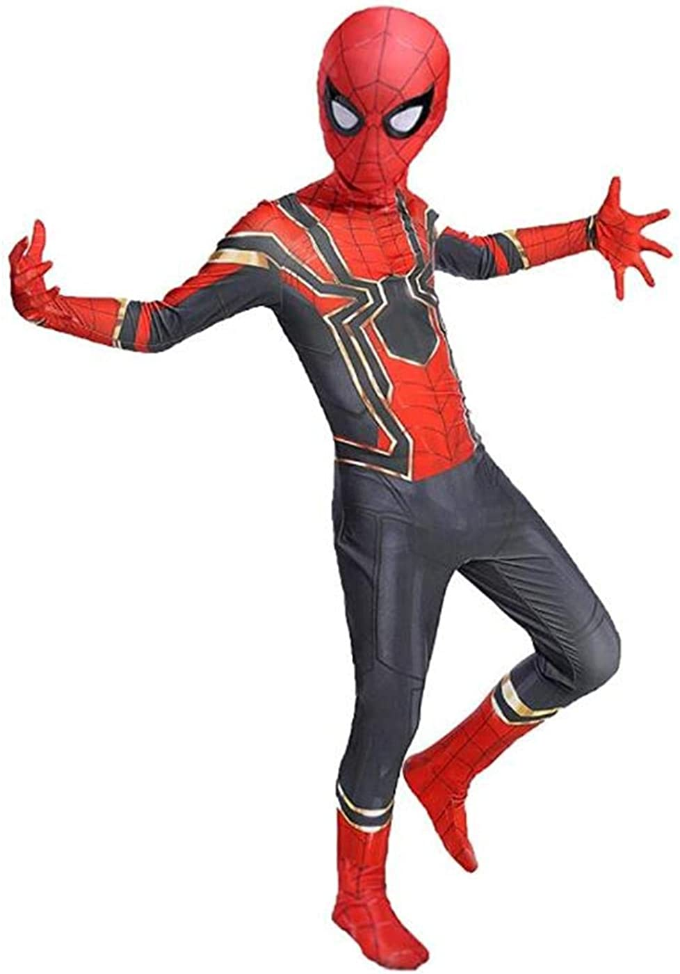 Lianhua Cos Toddler Iron Spider Jumpsuit Bodysuit Lycra Spandex Halloween Cosplay Costumes