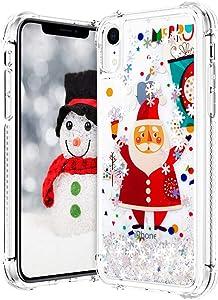 VEGO Christmas Case for iPhone XR, Glitter Liquid Sparkle Floating Bling Merry Christmas Santa Pattern TPU Clear Cute Girly Children Women Gifts Case for iPhone XR 6.1 inch (Santa)