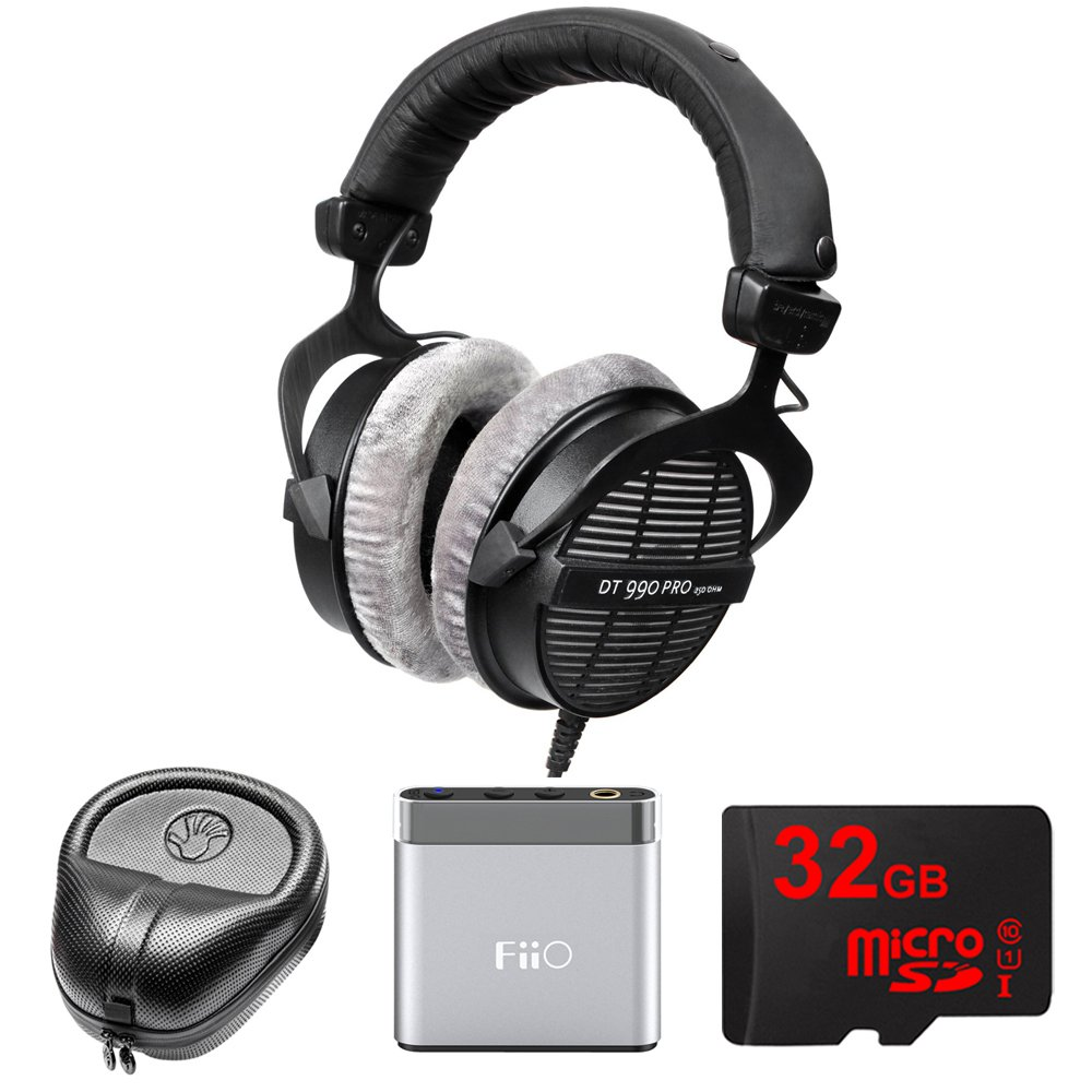 BeyerDynamic Professional Acoustically Open Headphones - 250 Ohms (DT-990-PRO-250) with Slappa HardBody Headphone Case, FiiO A1 Port Amplifier & 32GB MicroSD High-Speed Memory Card by Beach Camera (Image #1)