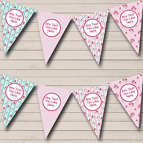 Chintz Roses Pink Stripes Shabby Chic Garden Tea Party Bunting Banner