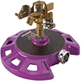 Dramm 15087 Circular Base Impulse Sprinkler with a Heavy-Duty Metal Base, Berry