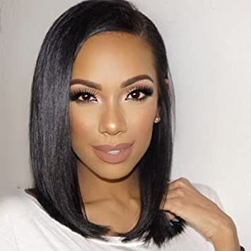 Persephone Pre Plucked 360 Lace Frontal Wig Brazilian Silky Straight Bob Wig Human Hair for Black