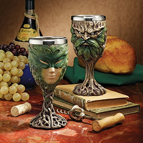 Rustic Woods Willow Forest Spirit Greenman And Green Lady Wine Goblet Chalice Set of Two Kitchen Home Decor Figurine For Housewarming Gift (Greenman Goblet)