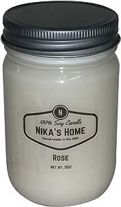 Nika's Home Rose Soy Candle - 12oz Mason Jar