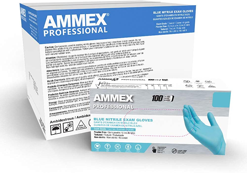 AMMEX Blue Nitrile Exam Gloves, 3 Mil, Powder Free, Textured, Disposable