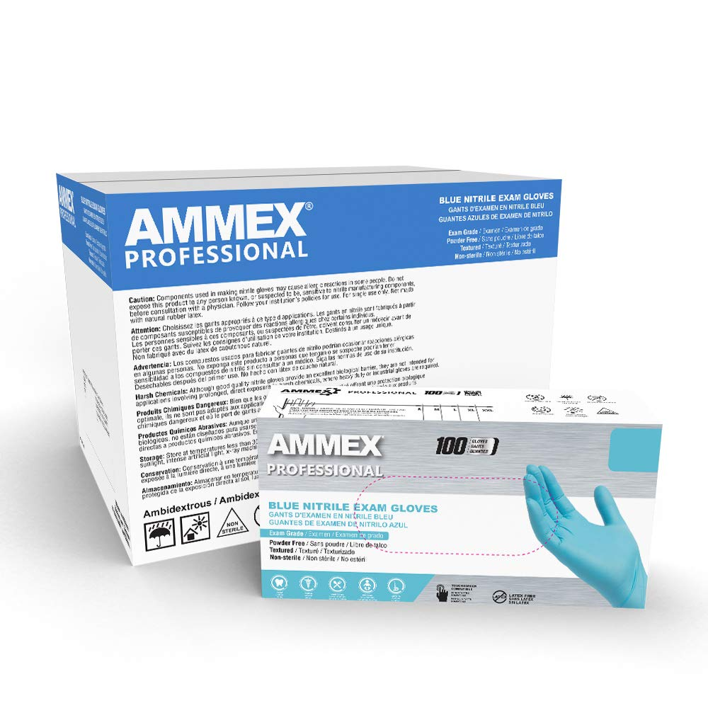 AMMEX Blue Nitrile Exam Gloves, Box of 100, 3 Mil, Size Large, Latex Free, Powder Free, Textured, Disposable, Non-Sterile, Food Safe, APFN46100-BX