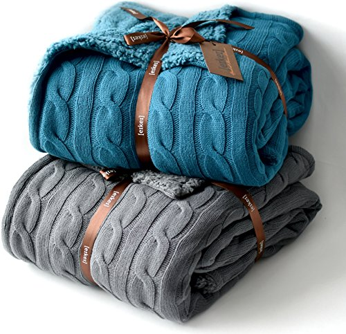 Cable Knit Sherpa Oversized Throw Reversible Blanket Faux Sheepskin Lined Cozy Cotton Blend Sweater Knitted Afghan in Grey White or Turquoise Blue (Charcoal)