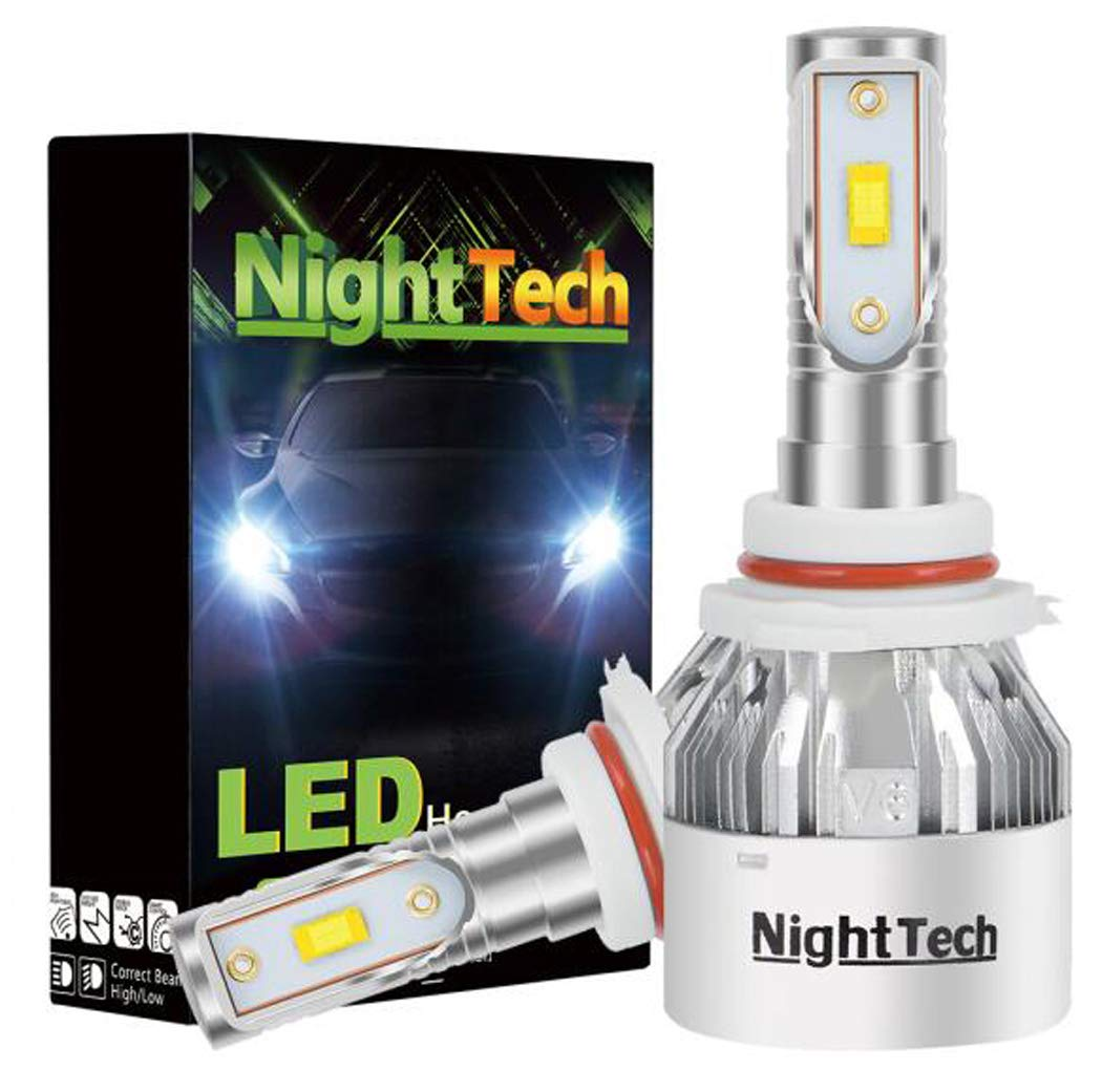 LED Headlight Bulb Integrated Conversion Sleeve, Direct Halogen Replacement, 12V White 6500K, 2 Xenon Lamps,H7