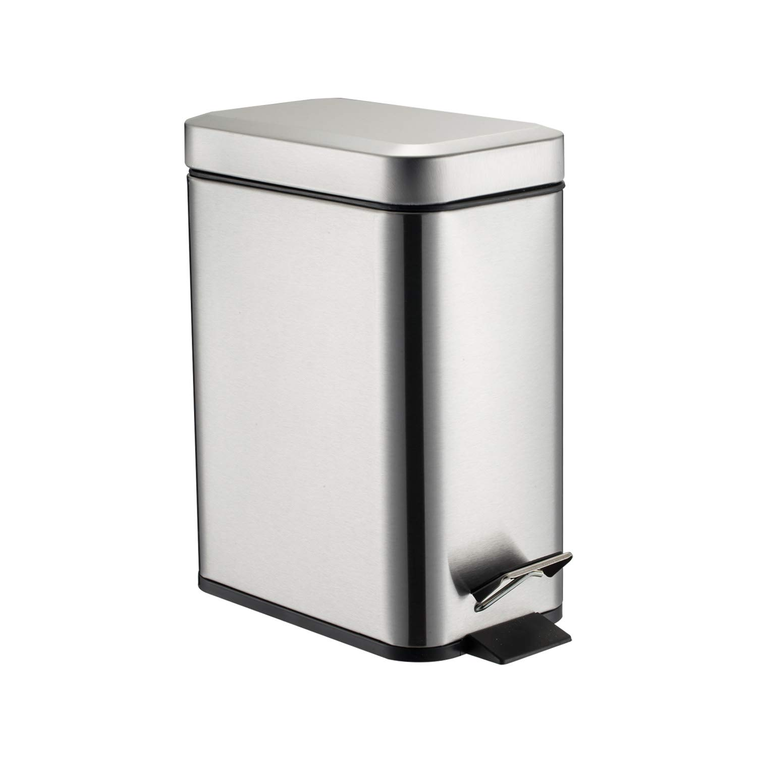 GiniHome Office Bin, Small Kitchen & Bathroom, Waste Basket-Soft Close, Waterproof and Easy to Clean-5 Liter/1.3 Gallon (Sliver) Cuboid Step Trash Can with Lids Waste Bin