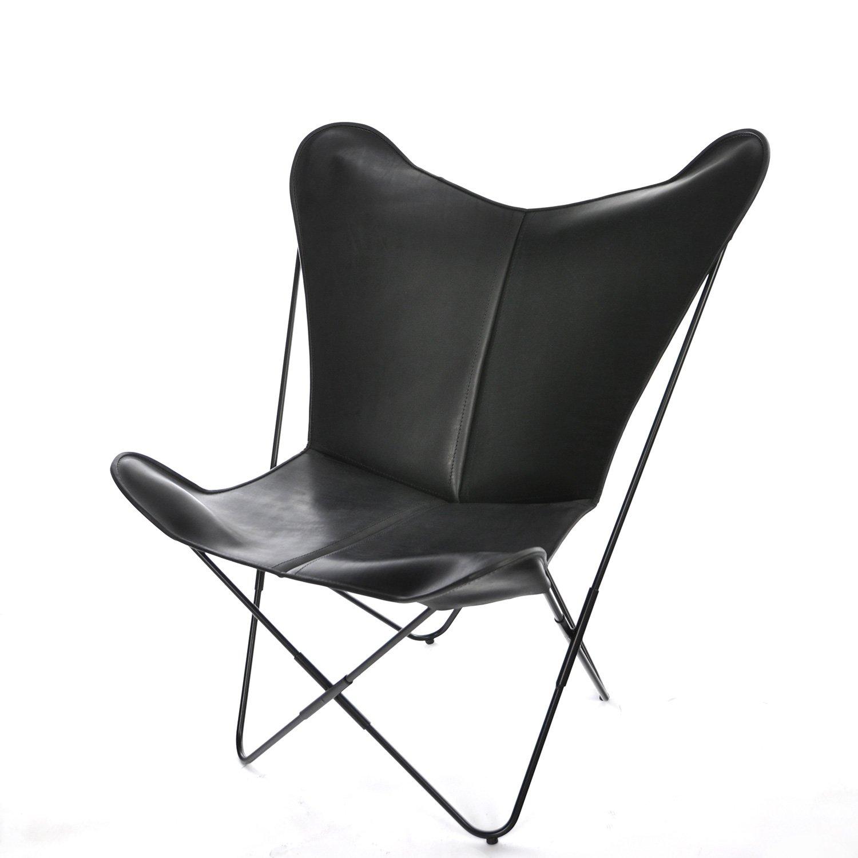 QXDENMARQ Sessel Papillon Leder schwarz/schwarz