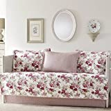 Pink and White Reversible, 5-piece Cotton Daybed Cover Set with Bedskirt and Floral Pattern Included Cross Scented Candle Tart