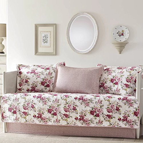 - L.A. Pink and White Reversible, 5-Piece Cotton Daybed Cover Set with Bedskirt and Floral Pattern Included Cross Scented Candle Tart