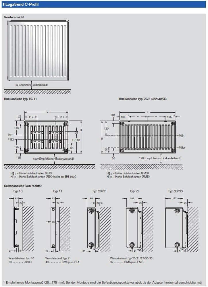 Buderus Kompaktheizk/örper Typ 33-300 x 2000 mit Halter
