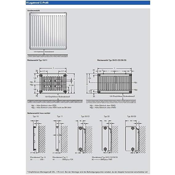 Buderus Kompakt Heizkorper Typ 21 H 600 X L 1400 Mit Halterung Und