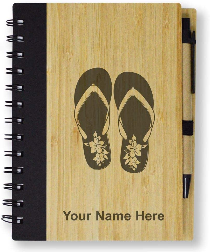 Hawaiian Beach Sandals Bamboo Eco-Friendly Spiral Notepad Personalized Engraving Included