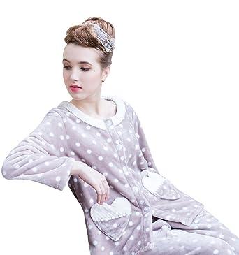 dd792ae7a6ea Camowuz Thick Thermal Flannel Womens Pajama Set ladies Sleepwear Coffee  Medium