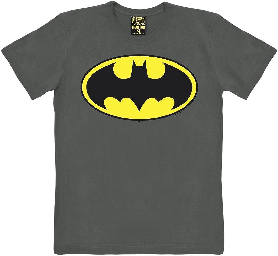 TRAKTOR Camiseta Batman Logotipo - Camiseta de DC Comics - Batman Logo - Camiseta con Cuello Redondo - Grafito - Camiseta Original de la Marca, Talla XS: Amazon.es: Ropa y accesorios