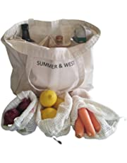Eco Friendly Shopping Bag Set - Large Canvas Farmers Market Bag - Includes 5 Cotton Mesh Produce Bags - Canvas Tote - Organic Cotton - Zero Waste