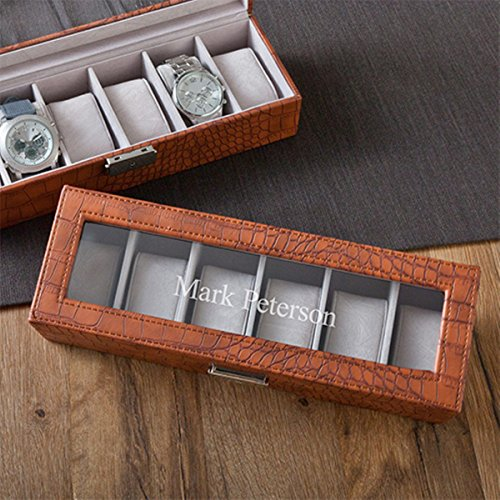 Personalized Brown Leather Crocodile Watch