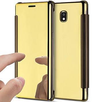 Funda Galaxy J7 2017,Carcasa Galaxy J7 2017,ikasus Plating metal cromado Transparente Flip Clear Hard PC Fundas Carcasa Delgado Flip soporte ...