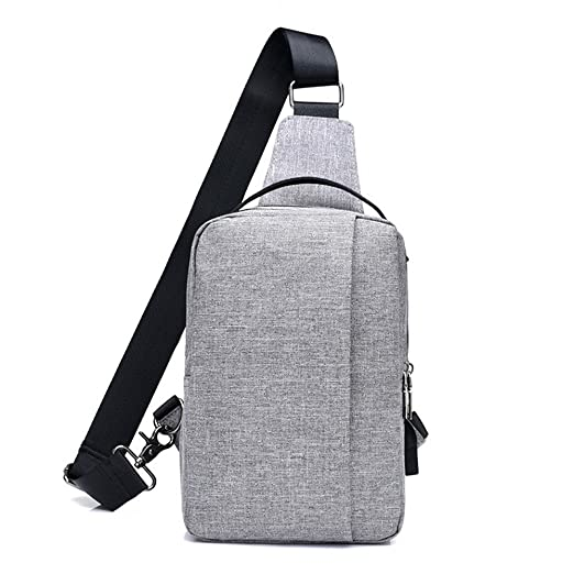 3781fa4039 Image Unavailable. Image not available for. Color  Canvas USB rechargeable  chest bag backpack leisure men and women chest shoulder ...