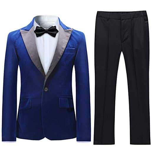 Boyland Boys Tuxedo Suit Velvet Peak Lapl Vintage 2 Pieces Slim Fit Jacket Pants Suit Set Prom Party
