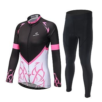 c40c6fe9e835 SKYSPER Maillot Conjunto Mangas Largas Pantalones Largos de Ciclismo para  Mujer Ropa Maillot Transpirable para Deportes al Aire Libre Ciclo Bicicleta  ...