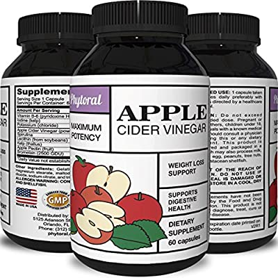 Apple Cider Vinegar Capsules - Pure Weight Loss Supplement - Detox & Digestion Support - Natural Apple Cider Vinegar Pills - Appetite Suppressant & Boosts Metabolism - For Men & Women - By Phytoral
