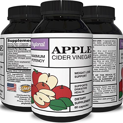 Apple Cider Vinegar Extract Weight Loss Pill for Energy Maximum Strength Supplement For Health Wellness Detox and Cleanse Capsules Support Circulation Digestion Vitamin B6 Kelp Spirulina