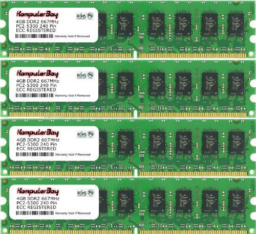 Komputerbay 16GB 4X4GB DDR2 667MHz PC2-5300 PC2-5400 DDR2 667 (240 PIN) ECC Registered DIMM Desktop Memory 16 GB