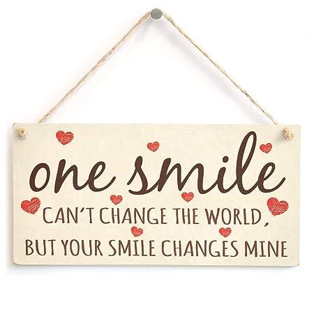 RABEAN One Smile Cartel de Madera Placa de Pared de Madera ...