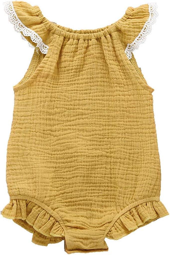 MORETIME Newborn Girls Romper 2Pcs Sets Toddler Baby Girl Cotton Linen Lattice Bowknot Bodysuit Romper Jumpsuit Outfit Set Lace Ruffle Onesies Strap Sleeveless Summer Bodysuits Childrens Day Gift