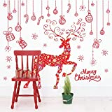 Techinal 1 Set Red Christmas Elk Art Wall Stickers Window Decals Poster Xmas Decor