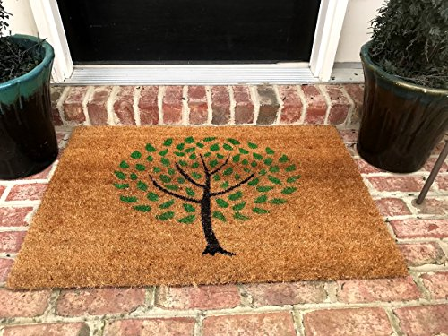 Tar Heel MarketPlace Mats Natural Coir Non Slip Tree Floor Entrance Door Mat Indoor/Outdoor (18 X 30) + FREE Rubber Mat ($20 Value) (Marketplace Tree Shoe)