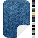 Maples Rugs Bathroom Rugs-Colorsoft 23.5' x 39' Non Slip Washable Bath Mat [Made in USA} Soft & Quick Dry for Vanity and Shower, Federal Blue