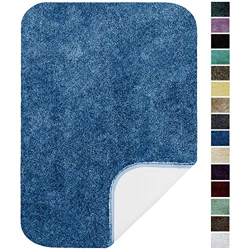 "Maples Rugs Bathroom Rugs - Colorsoft 20"" x 34"" Non Slip Washable Bath Mat [Made in USA} Soft & Quick Dry for Vanity and Shower, Federal Blue"