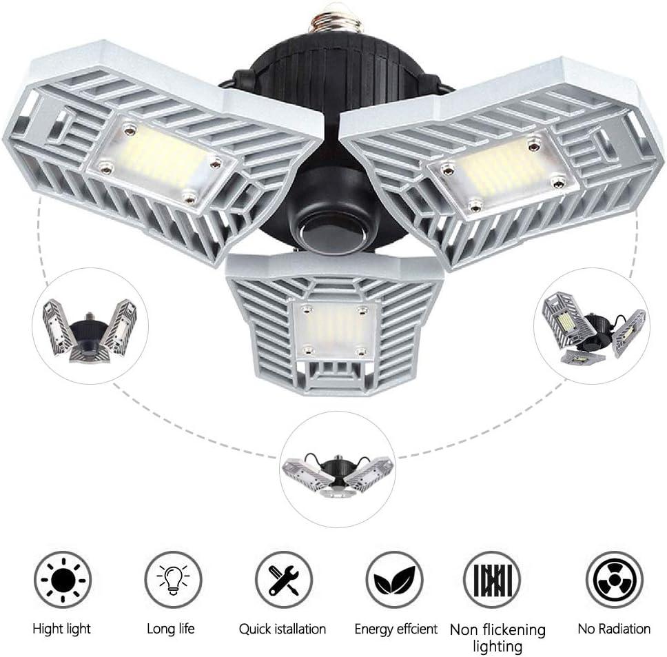 Led Garage Lights,Deformable Lamp, Ceiling lights Fixture,Led Light Bulbs 60w,6000 lumens,Shop Lights For Garage,Work Light (NO Motion Activated)