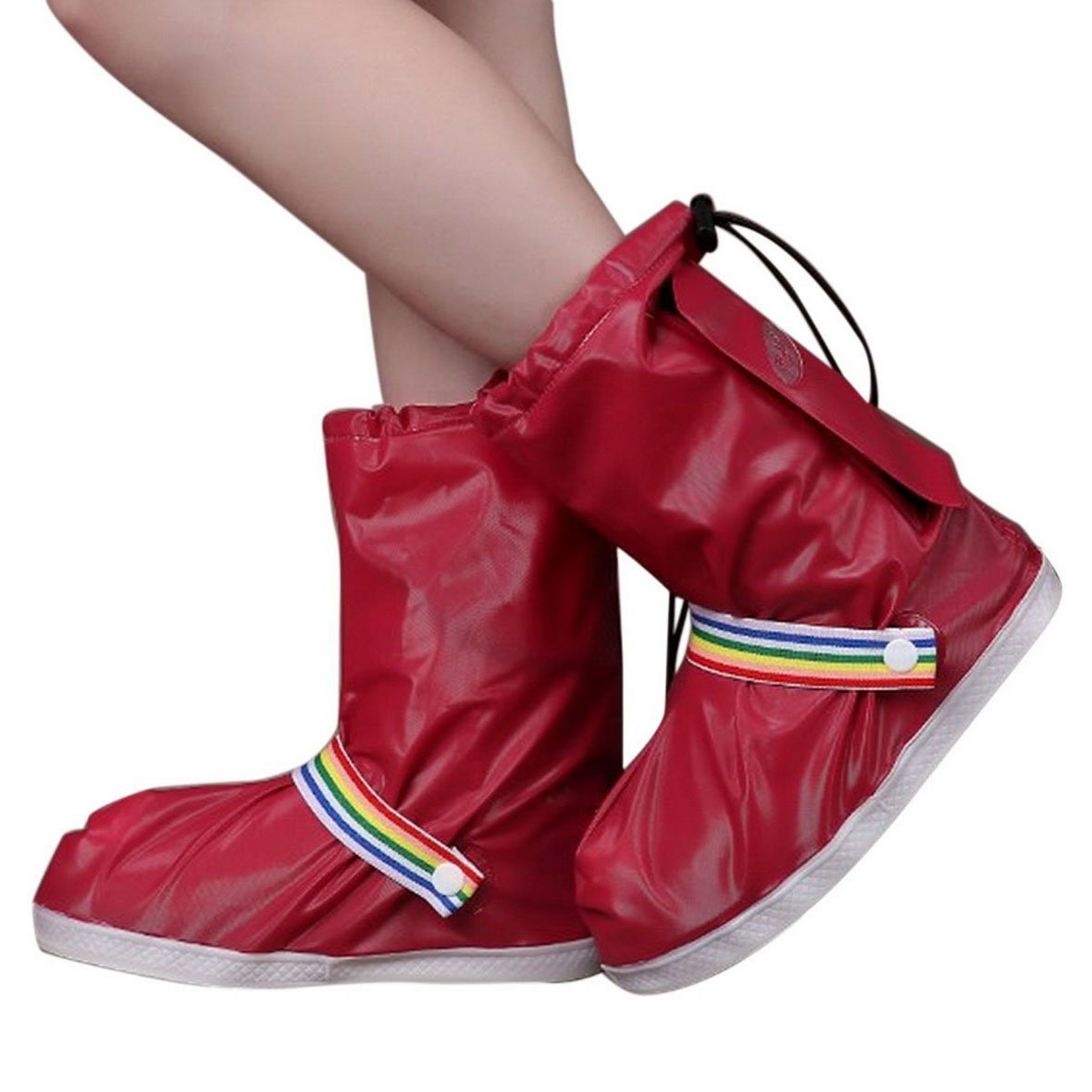 FEOYA Women Foldable Rain Gear Boot Shoes Cover for Bicycling Size XL-Wine Red by FEOYA (Image #1)