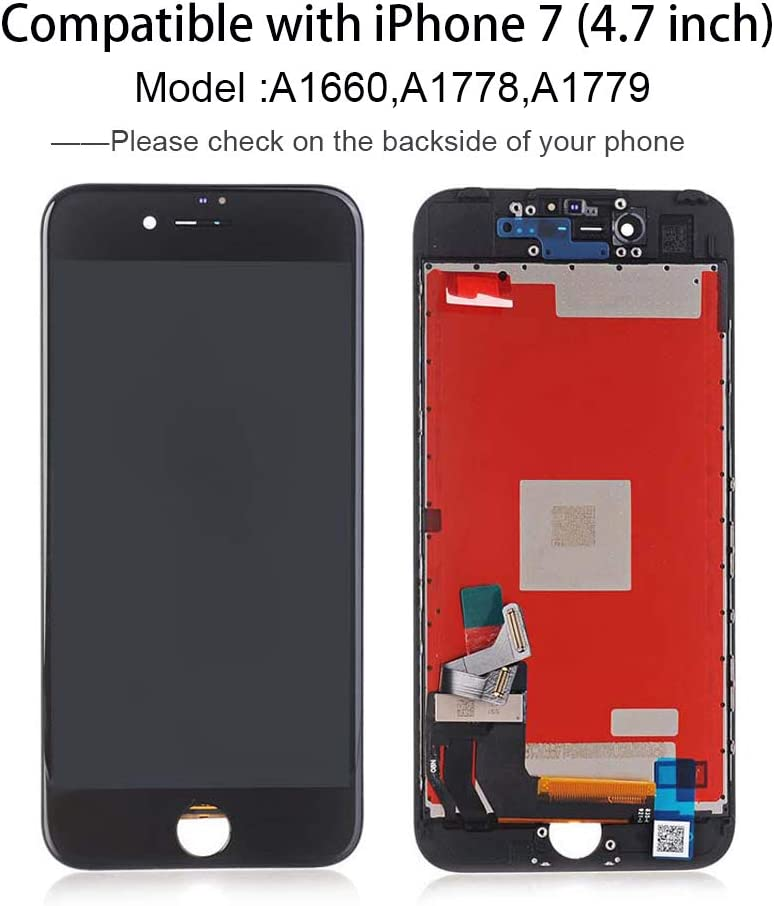 A1779 A1778 Compatible with iPhone 7 White Screen Replacement 4.7 Inch LCD Screen Display Touch Digitizer Assembly for iPhone 7 Compatible with Model A1660