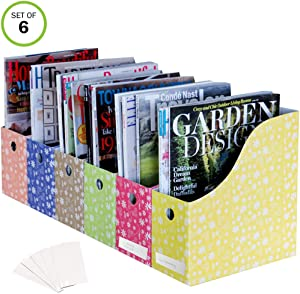 Evelots Magazine File Holder-Organizer-Full 4 Inch Wide-Floral-With Labels-Set/6
