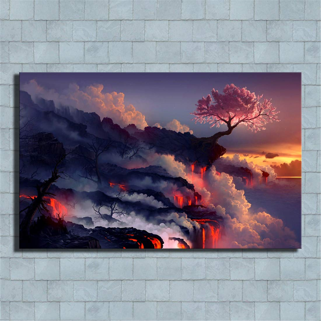Natvva 1 Piece Canvas Painting Fantasy Art Scorched Earth Lava Landscape Cherry Blossom Sunset Life Blossom Hd Picture Print Wall Decor