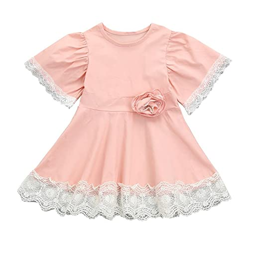 d96cc152a Lisin Kids Baby Girls Dress Lace Floral Party Princess Dress Short Sleeve  Solid Dress Clothes (