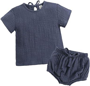 Yying Ropa Bebé Niña Niño Verano Manga Corta Blusa + Pantalón Cortos Lino Algodón Conjuntos para Recién Nacido Bebé 66cm-110cm: Amazon.es: Ropa y accesorios